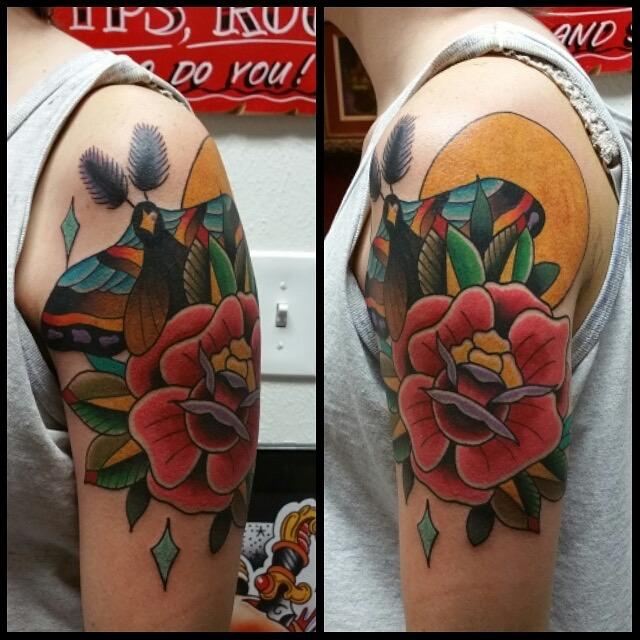 ed81effec Rebel Muse Tattoo : Tattoos : Traditional Old School : Moth, Sun, & Rose