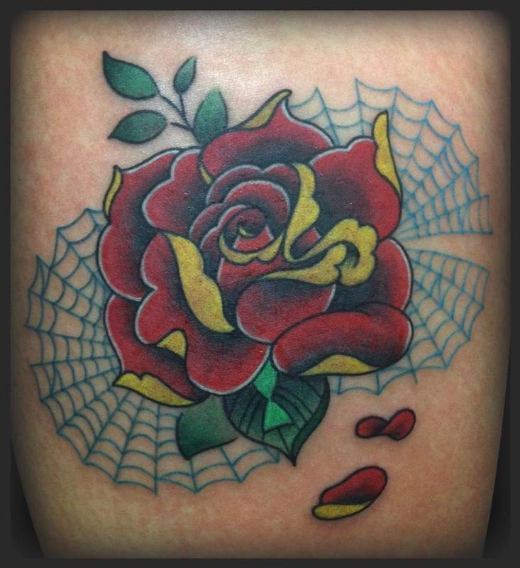 fe883a55a Rebel Muse Tattoo : Tattoos : Flower : Colorful Rose and Webs Tattoo