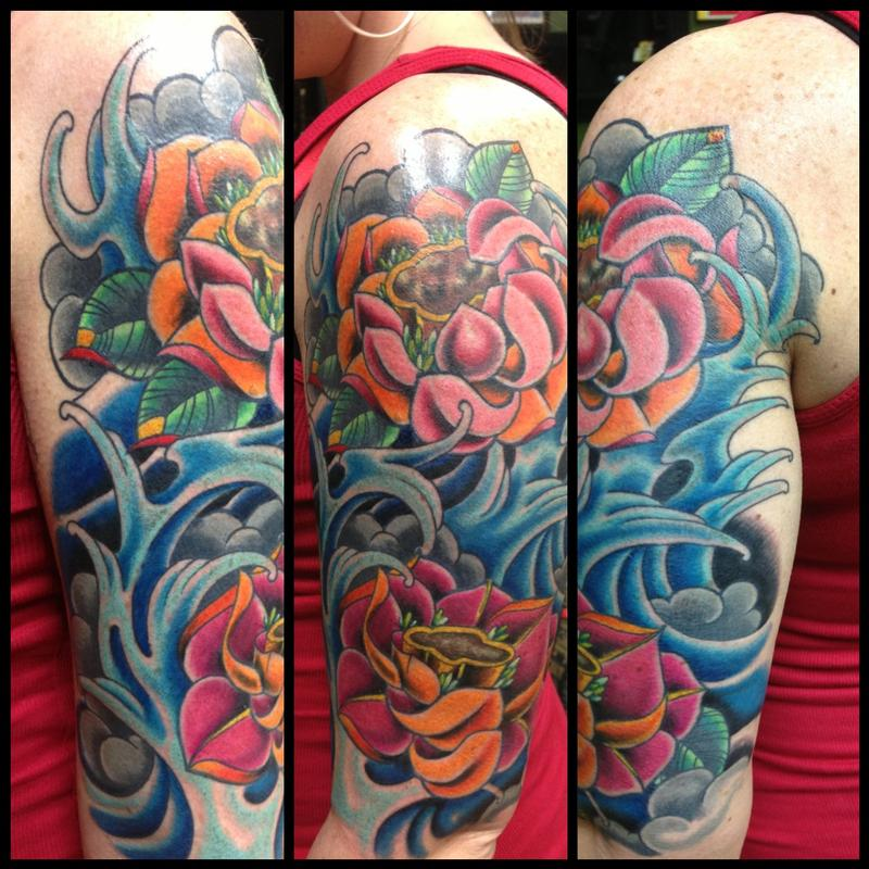 Color Bomb Lotus Flowers And Water By Kr Rossi Tattoos