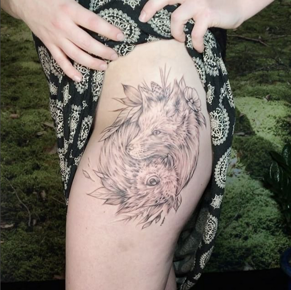 0a3e69842 Rebel Muse Tattoo : Tattoos : Feminine : WIP Fox and Owl on Thigh-  Instagram @MichaelBalesArt