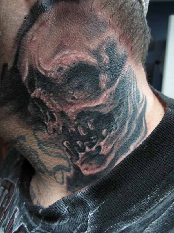 Skull on the neck tattoos for Skull neck tattoos