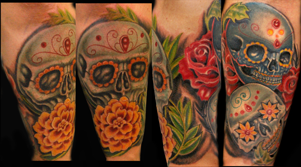 Comments: this was a custom drawn sugar skull and flower piece done in two