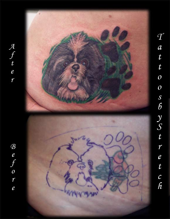 butterfly cover up tattoo. one more. close up shot. Dog Coverup : Tattoos :