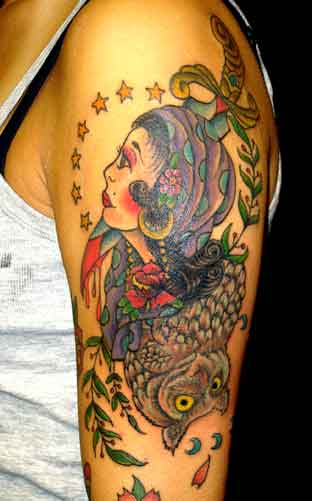 Looking for unique Wildlife tattoos Tattoos Gypsy girl and Owl