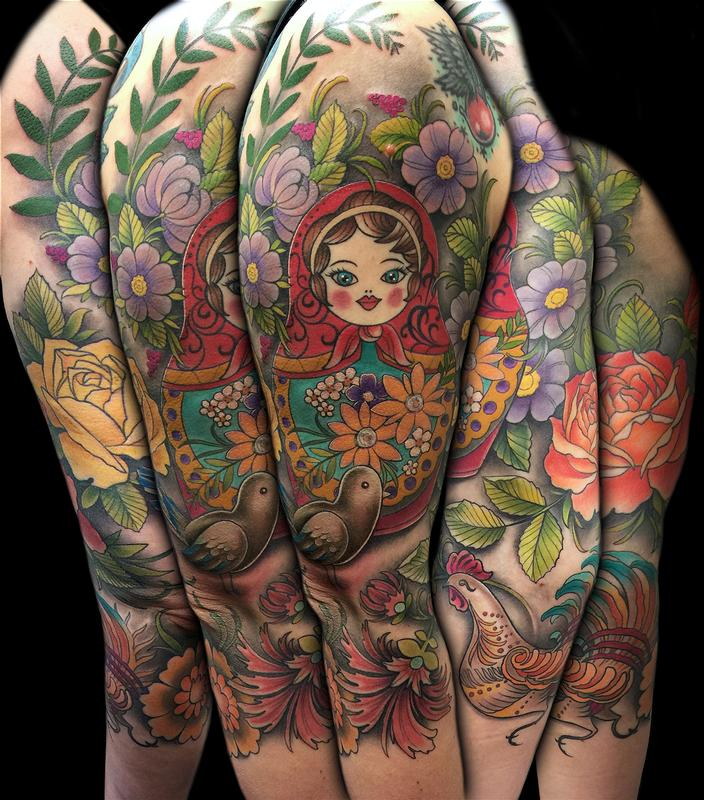 Rebel Muse Tattoo Tattoos David Mushaney Colorful Russian Folk