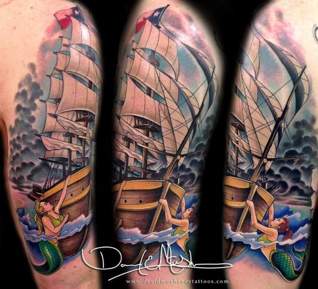 8d3d17734 Rebel Muse Tattoo : Tattoos : Sleeves : Ship with Mermaids and Stormy Sky