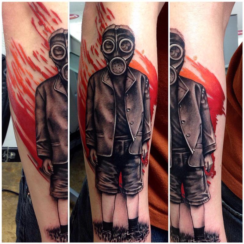 0b88bf0a4e350 Rebel Muse Tattoo : Tattoos : Body Part Arm Sleeve : WW2 Era Gas Mask Kid