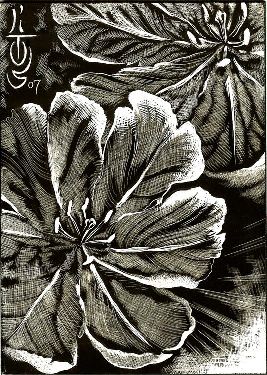 SCRATCHBOARD FLOWER By LITOS Original Art